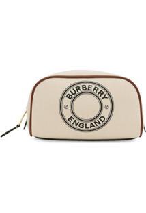 Burberry Nécessaire Pequena Com Logo - Branco