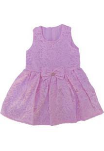Vestido Infantil Com Laço E Renda