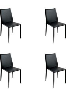 Kit 04 Cadeiras Amanda Pvc Preta Rivatti
