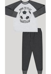 Pijama Infantil Futebol Em Moletom Manga Longa Gola Careca Cinza Mescla Escuro