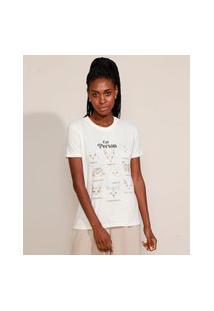 T-Shirt Feminina Mindset Gatos Manga Curta Decote Redondo Off White