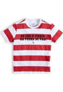 Camiseta Mini Pirata Reserva Mini Masculina - Masculino-Branco+Vermelho