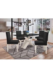 Conjunto De Mesa De Jantar Com Tampo De Vidro Madrid E 6 Cadeiras Ana Veludo Preto
