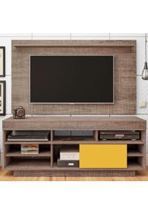 Rack Com Painel Para Tv Até 47 Polegadas Roma Flex Canela/Amarelo - Artely