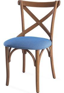 Cadeira De Jantar Estofada Madeleine - Stain Jatobá - Tec.930 Azul Claro - 50X54,5X86 Cm