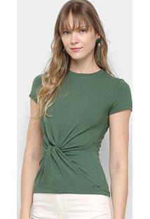 Camiseta Colcci Nó Manga Curta Feminina - Feminino-Verde Claro