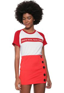 Camiseta Fiveblu Lettering Com Faixas Branca