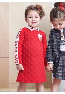 Vestido Com Patch Vermelho