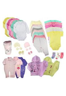 Kit Roupas De Bebê 38 Peças Enxoval Completo Menino E Menina Rosa