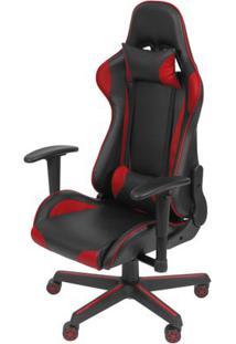 Cadeira Office Gamer Fun Em Courissimo Cor Preta E Vermelha Com Base Nylon - 51837 - Sun House