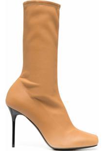 Balmain Ankle Boot Rosy Com Salto 110Mm - Marrom