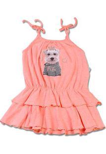 Vestido Infantil Malha Botonê Rustic Fresh Neon Cachorrinho - Salmão 1