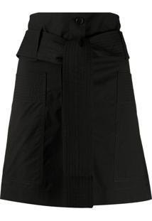 P.A.R.O.S.H. Short Cintura Alta Com Cinto - Preto