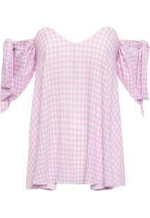 Blusa Feminina Xadrez - Rosa E Branco