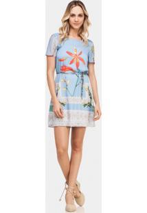 Vestido Estampado Com Cinto Azul Bluish - Lez A Lez