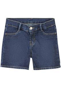 Bermuda Jeans Infantil Menina Com Lavação Escura Hering Kids