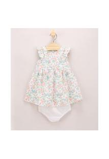 Vestido Infantil Estampado Floral Com Babados + Calcinha Off White