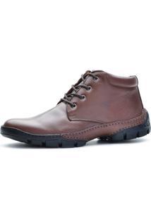 Bota Cano Curto Over Boots Urbana Couro Conforto Marrom