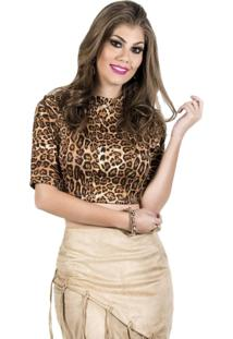 Blusa Croped Miss Lady Neoprene Oncinha Caramelo
