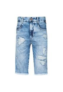 Bermuda Masculina Jeans Slim Cadarço Lateral Destr Cl