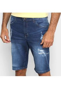 Bermuda Jeans Malwee Slim Puídos Masculina - Masculino