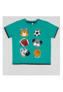 Camiseta Infantil Bichos Manga Curta Verde