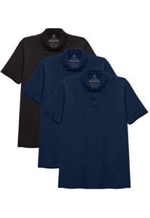Kit 3 Camisas Polo Masculina A Preto