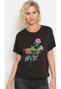 Camiseta Floral Com Bordado- Preta & Amarelalevis