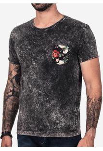 Camiseta Preta Marmorizada Bolso Floral 101997