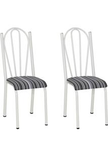 Conjunto 2 Cadeiras Mnemósine Branco E Preto Listrado