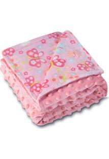 Manta Fleece Dupla Face Bebê Estampada Mini 82 Cm X 82 Cm Com 1 Peça - Produto Importado Lepper Rosa