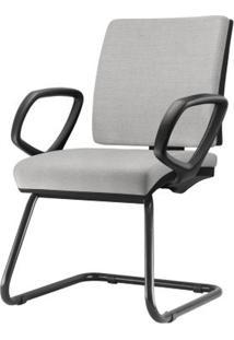 Cadeira Simple Com Braco Fixo Assento Courino Cinza Claro Base Fixa Preta - 54978 Sun House