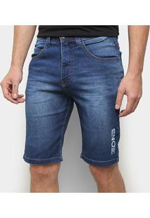 Bermuda Jeans Onbongo Logo Masculina - Masculino-Azul