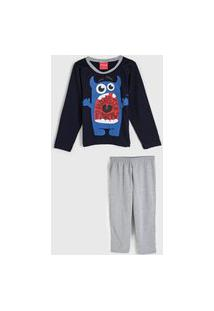 Pijama Tricae Longo Infantil Monstrinho Azul-Marinho/Cinza