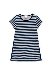 Vestido Infantil Abrange Listras Cinza Abrange Casual Cinza