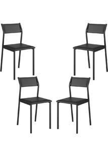 Conjunto 4 Cadeiras Tubo Preto Napa Preta Carraro