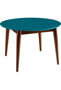 Mesa De Jantar Redonda Devon Cacau E Azul 120 Cm