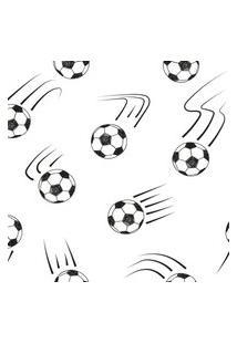 Papel De Parede Branco E Preto Bolas De Futebol 57X270Cm