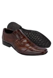 Sapato Masculino Social Leoppé Em Couro Whisky Marrom