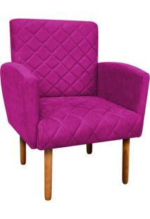 Poltrona Decorativa Veronês Para Sala E Recepção Suede Pink - D'Rossi