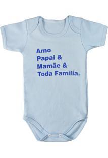 Body Era Uma Vez De Bebê Manga Curta Azul Frase Amo Papai Mamãe E Familia