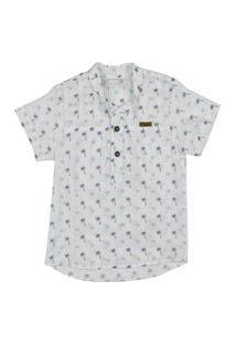 Camisa Infantil Barbara Colorê Social Estampada Branca