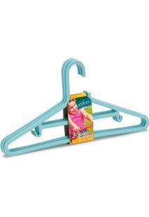 Cabide Infantil Plástico Com 3 Peças Color