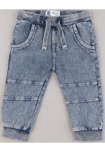 Calça Jeans Infantil Em Moletom Com Bolsos Azul Médio