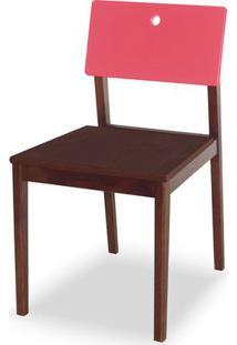 Cadeira Flip Cor Cacau Com Encosto Rosa - 30842 - Sun House