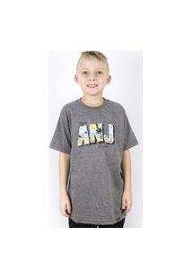 Camiseta Anjuss Estampada Cinza
