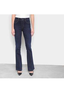 Calça Jeans Flare Sawary Super Lipo C/ Cinta Interna Feminina - Feminino-Azul