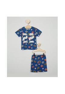 Pijama Infantil Brandili Estampada Esportes Manga Curta Azul Royal