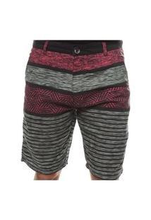 Bermuda Crocker Jeans Estampada Vermelhor