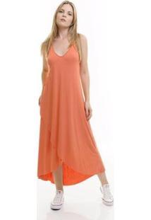 Vestido Aura Cruzado Feminina - Feminino-Salmão